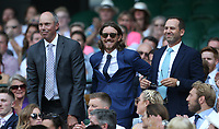 Golfers Matt Kuchar,Tommy Fleetwood and Sergio Garcia in the Royal box on Centre Court <br /> <br /> Photographer Rob Newell/CameraSport<br /> <br /> Wimbledon Lawn Tennis Championships - Day 6 - Saturday 7th July 2018 -  All England Lawn Tennis and Croquet Club - Wimbledon - London - England<br /> <br /> World Copyright &not;&copy; 2017 CameraSport. All rights reserved. 43 Linden Ave. Countesthorpe. Leicester. England. LE8 5PG - Tel: +44 (0) 116 277 4147 - admin@camerasport.com - www.camerasport.com