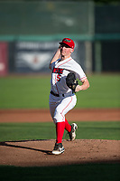 Orem Owlz starting pitcher John Swanda (5) delivers a pitch during a Pioneer League game against the Ogden Raptors at Home of the OWLZ on August 24, 2018 in Orem, Utah. The Ogden Raptors defeated the Orem Owlz by a score of 13-5. (Zachary Lucy/Four Seam Images)