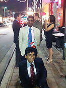 National Review staff writer Ramesh Ponnuru and former Chapel Hill resident Robin Sinhababu loiter outside of the Carne Chophouse in Tampa, after attending a convention watching party sponsored by the National Journal and Atlantic Monthly.