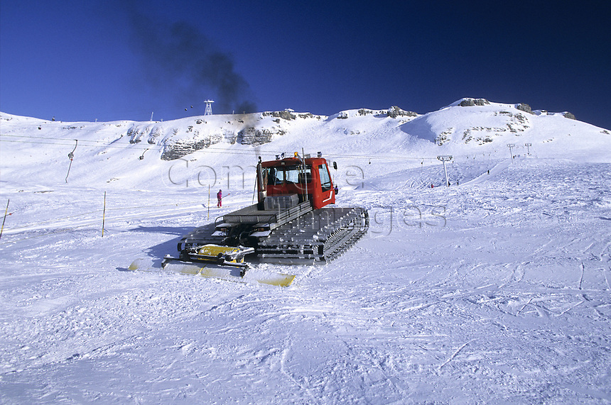 Snow plough on a ski slope