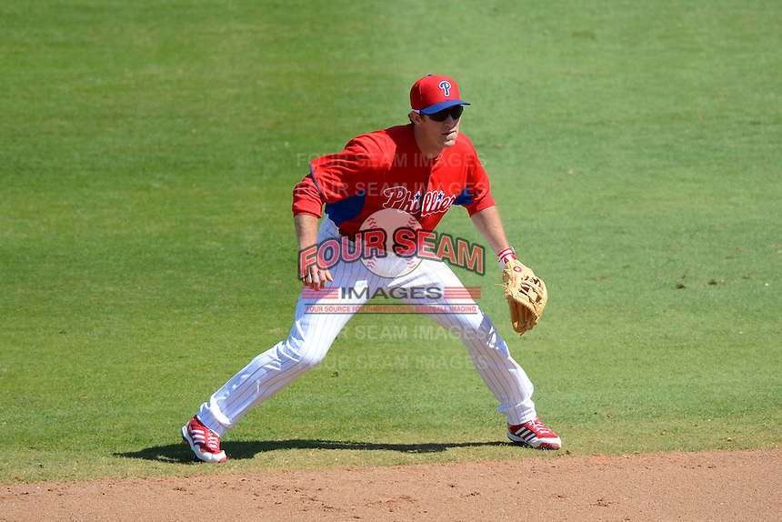 Philadelphia Phillies second baseman Chase Utley #26 during a Spring Training game against the Washington Nationals at Bright House Field on March 6, 2013 in Clearwater, Florida.  Philadelphia defeated Washington 6-3.  (Mike Janes/Four Seam Images)