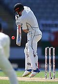 25th March 2018, Auckland, New Zealand;  New Zealand's Henry Nicholls plays defensive stroke New Zealand versus England. 1st day-night test match. Eden Park, Auckland, New Zealand. Day 4