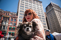 Fashion designer Anna Tagliabue with Choco a long-hair chihuahua at Union Square in New York at Adoptapalooza on Sunday, April 10, 2016. Hosted by the Alliance for NYCs Animals the event featured hundreds of homeless animals just waiting to be adopted by loving families. The event celebrated the 150th anniversary of the ASPCA.  (© Richard B. Levine)