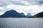 Rocky coastal landscape mountains fjords, south of the Arctic Circle, Nordland, Norway