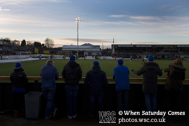 Alloa Athletic 0 Peterhead 1,14/01/2017. Recreation Park, Scottish League One. Away supporters watching the first-half action as Alloa Athletic take on Peterhead (in blue) in a Scottish League One fixture at Recreation Park, with the Ochil Hills in the background. The club was formed in 1878 as Clackmannan County, changing the name to Alloa Athletic in 1883. The visitors won the match by one goal to nil, watched by a crowd of 504. Photo by Colin McPherson.