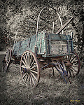 """Antiqued"" HDR image of an old wagon."