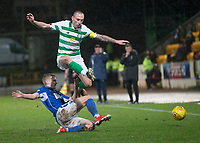 29th January 2020; McDairmid Park, Perth, Perth and Kinross, Scotland; Scottish Premiership Football, St Johnstone versus Celtic; Scott Brown of Celtic is tackled by Alistair McCann of St Johnstone