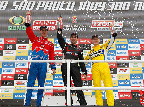 30 April - 1 May, 2011, Sao Paulo, Sao Paulo Brazil<br /> (l-r) Graham Rahal (2nd), Will Power (1st), and Ryan Briscoe (3rd)<br /> © 2011 Phillip Abbott<br /> LAT Photo USA