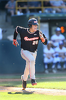 K.J. Harrison (24) of the Oregon State Beavers runs to first base during a game against the UCLA Bruins at Jackie Robinson Stadium on April 4, 2015 in Los Angeles, California. UCLA defeated Oregon State, 10-5. (Larry Goren/Four Seam Images)