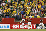 06 June 2008: Ronald Vargas (VEN) (10) jumps into the arms of Giancarlo Maldonado (VEN) (behind) after Maldonado had given Venezuela a 1-0 lead. The Brazil Men's National Team played the Venezuela Men's National Team at Gillette Stadium in Foxboro, Massachusetts in an international friendly soccer match.