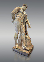 End of 2nd century beginning of 3rd century AD Roman marble sculpture of Hercules at rest copied from the second half of the 4th century BC Hellanistic Greek original,  inv 6001, Farnese Collection, Museum of Archaeology, Italy, grey background