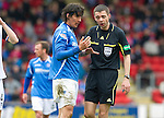 St Johnstone v Inverness Caley Thistle....07.04.12   SPL.Fran Sandaza complains to ref Kevin Clancy.Picture by Graeme Hart..Copyright Perthshire Picture Agency.Tel: 01738 623350  Mobile: 07990 594431