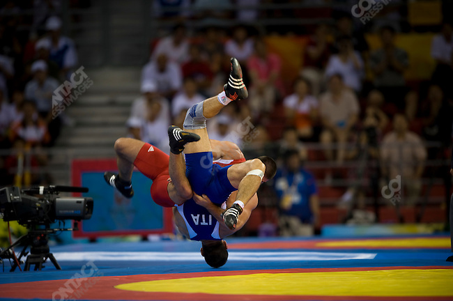 Andrea Minguzzi (Italy) - gold vs Zoltan Fodor (Hungary) - silver 84 kg Greco-Roman Wrestling, CAU Gymnasium, Summer Olympics, Beijing, China, August 14, 2008