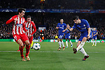 Cesc Fabregas of Chelsea shoots towards goal past Stefan Savic of Atletico Madrid during the Champions League Group C match at the Stamford Bridge, London. Picture date: December 5th 2017. Picture credit should read: David Klein/Sportimage