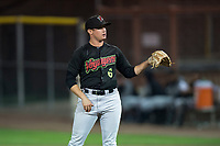 Great Falls Voyagers relief pitcher Wyatt Burns (6) during a Pioneer League game against the Idaho Falls Chukars at Melaleuca Field on August 18, 2018 in Idaho Falls, Idaho. The Idaho Falls Chukars defeated the Great Falls Voyagers by a score of 6-5. (Zachary Lucy/Four Seam Images)