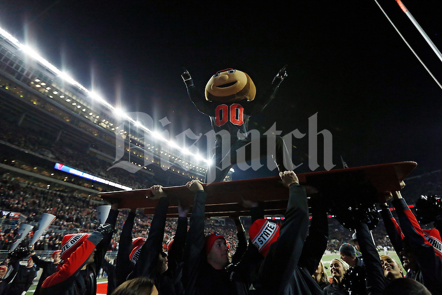 Ohio State mascot Brutus Buckeye wears a black jersey during the fourth quarter of the NCAA football game against the Penn State Nittany Lions at Ohio Stadium in Columbus on Oct. 17, 2015. Ohio State won 38-10. (Adam Cairns / The Columbus Dispatch)