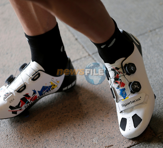 Fabian Cancellara's (SUI) Trek Segafredo custom shoes at the finish of Stage 3 of the 2016 Tour de France, running 223.5km from Granville to Angers, France . 4th July 2016.<br /> Picture: Eoin Clarke | Newsfile<br /> <br /> <br /> All photos usage must carry mandatory copyright credit (&copy; Newsfile | Eoin Clarke)