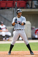 Javier Colina #41 of the Birmingham Barons at bat versus the Carolina Mudcats at Five County Stadium August 16, 2009 in Zebulon, North Carolina. (Photo by Brian Westerholt / Four Seam Images)