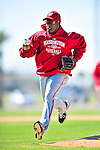1 March 2010: Washington Nationals' utilityman Willie Harris takes infield rundown drills during Spring Training at the Carl Barger Baseball Complex in Viera, Florida. Mandatory Credit: Ed Wolfstein Photo