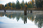 Idaho, Silver Valley, Rose Lake. Reflections in the water with rising mist and autumn colors.