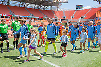 Houston, TX - Saturday May 13, Sky Blue FC starters Christie Pearce, Kailen Sheridan, Taylor Lytle, and Nikki Stanton enter the field during a regular season National Women's Soccer League (NWSL) match between the Houston Dash and Sky Blue FC at BBVA Compass Stadium. Sky Blue won the game 3-1.