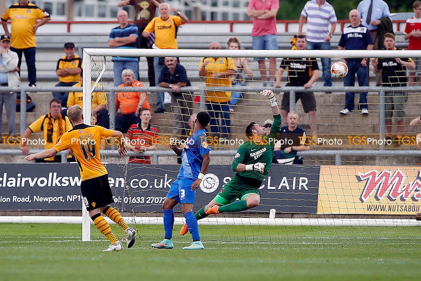 Scott Bodin scores Newport's first goal during Newport County vs Leyton Orient, Sky Bet League 2 Football at Rodney Parade, Newport, Wales on 22/08/2015