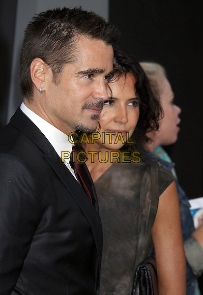"Colin Farrell, Claudine Farrell.""Total Recall"" Los Angeles Premiere held at Grauman's Chinese Theatre, Hollywood, California, USA..August 1st, 2012.half length suit grey gray dress brother siblings family black white tie purple goatee soul patch moustache mustache facial hair tie dye sister profile .CAP/ADM/RE.©Russ Elliot/AdMedia/Capital Pictures."