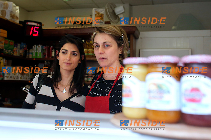 Virginia Raggi<br /> Roma 30-04-2016 Virginia Raggi visita il quartiere Prenestino ed il mercato coperto di via della Primavera.<br /> Rome 30th April 2016. The candidate Mayor of Rome for Movement 5 Stars visits the market of Prenestino quarter.<br /> Photo Samantha Zucchi Insidefoto