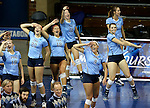SIOUX FALLS, SD - DECEMBER 8:  Palm Beach Atlantic bench celebrates a point against the University of South Carolina Aiken during their quarterfinal match of the NCAA DII Volleyball Championships at the Sanford Pentagon in Sioux Falls, SD. (Photo by Dave Eggen/Inertia)