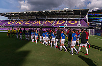 ORLANDO, FL - MARCH 05: Japan and Spain enter the field during a game between Spain and Japan at Exploria Stadium on March 05, 2020 in Orlando, Florida.