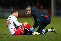 Injury concern for Matthew Godden of Stevenage during Stevenage vs Reading, Emirates FA Cup Football at the Lamex Stadium on 6th January 2018