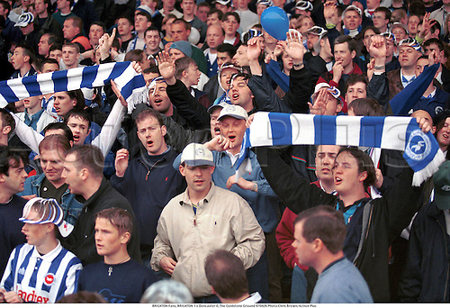 BRIGHTON Fans, BRIGHTON 1 v Doncaster 0, The Goldstone Ground 970426 Photo:Chris Brown/Action Plus...1997.crowd.crowds.supporters.fans.spectators.Soccer.football