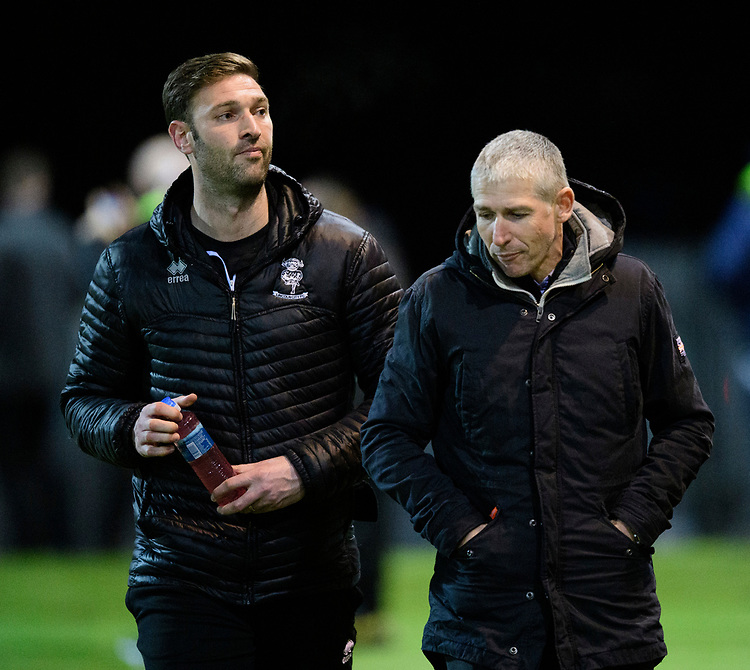 Lincoln City's first team coach/under 23 manager Jamie McCombe, left, and Lincoln City's head of football Jez George<br /> <br /> Photographer Chris Vaughan/CameraSport<br /> <br /> The EFL Sky Bet League Two - Mansfield Town v Lincoln City - Monday 18th March 2019 - Field Mill - Mansfield<br /> <br /> World Copyright © 2019 CameraSport. All rights reserved. 43 Linden Ave. Countesthorpe. Leicester. England. LE8 5PG - Tel: +44 (0) 116 277 4147 - admin@camerasport.com - www.camerasport.com