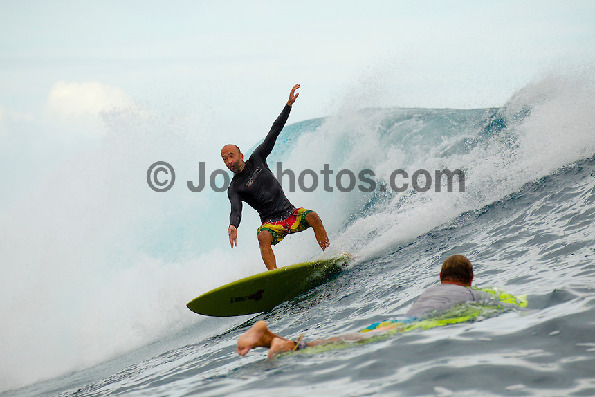 Namotu Island Resort, Fiji. (Friday, May 18, 2012) -  There were side shore trade winds and overcast skies with  a solid swell today. Cloudbreak and Namotu Lefts was in the six foot range and with two foot plus waves at Swimming Pools. Photo: joliphotos.com