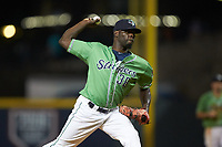 Gwinnett Stripers relief pitcher Jose Rafael De Paula (38) in action against the Scranton/Wilkes-Barre RailRiders at BB&T BallPark on August 16, 2019 in Lawrenceville, Georgia. The Stripers defeated the RailRiders 5-2. (Brian Westerholt/Four Seam Images)