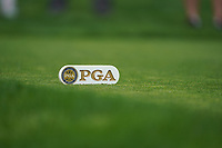 PGA tee marker on the 3rd tee during the 2nd round at the PGA Championship 2019, Beth Page Black, New York, USA. 18/05/2019.<br /> Picture Fran Caffrey / Golffile.ie<br /> <br /> All photo usage must carry mandatory copyright credit (&copy; Golffile | Fran Caffrey)
