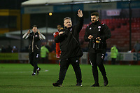 Crawley Town manager John Yems applauds the fans at the end of the match. Crawley Town vs Bradford City, Sky Bet EFL League 2 Football at Broadfield Stadium on 11th January 2020