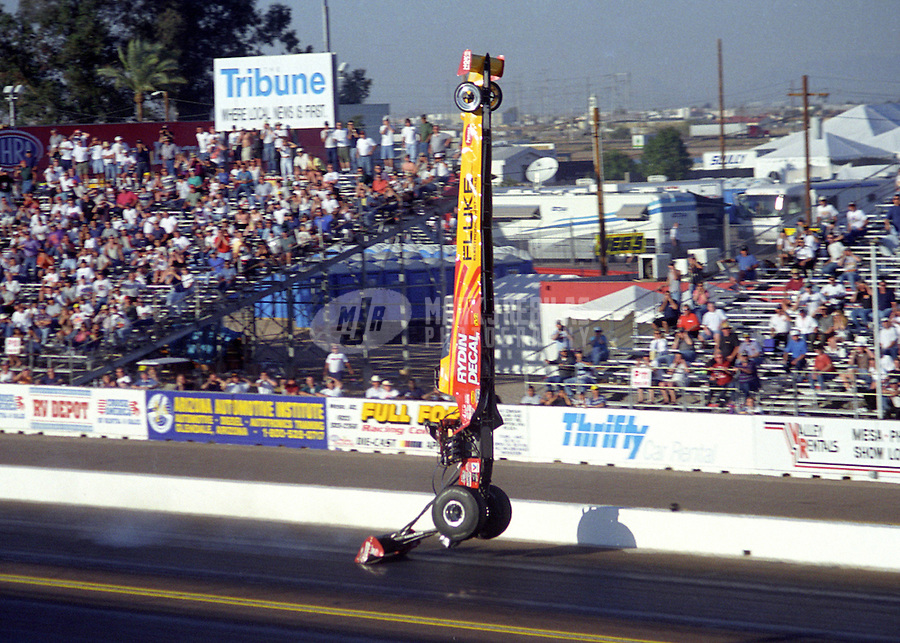 Feb. 26, 1999; Chandler, AZ, USA; NHRA top fuel dragster driver Randy Parks blows over during the CSK Nationals at Firebird International Raceway. Mandatory Credit: Mark J. Rebilas-