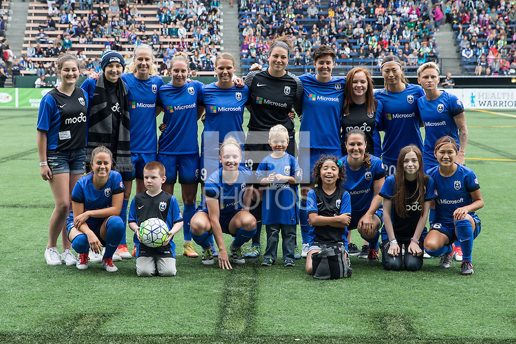 Seattle, WA - Saturday Aug. 27, 2016: Seattle Reign FC Starting Eleven prior to a regular season National Women's Soccer League (NWSL) match between the Seattle Reign FC and the Portland Thorns FC at Memorial Stadium.