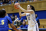 30 October 2014: Duke's Mercedes Riggs. The Duke University Blue Devils hosted the Limestone College Saints at Cameron Indoor Stadium in Durham, North Carolina in an NCAA Women's Basketball exhibition game. Duke won the game 100-33.