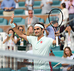 March 27, 2019: Roger Federer (SUI) defeated Daniil Medvedev (RUS) 6-4, 6-2, at the Miami Open being played at Hard Rock Stadium in Miami, Florida. ©Karla Kinne/Tennisclix 2010/CSM