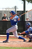 Lane Adams #30 of the Kansas City Royals  plays in minor league spring training game against the Texas Rangers at the Rangers minor league complex on March 22, 2011  in Surprise, Arizona. .Photo by:  Bill Mitchell/Four Seam Images.