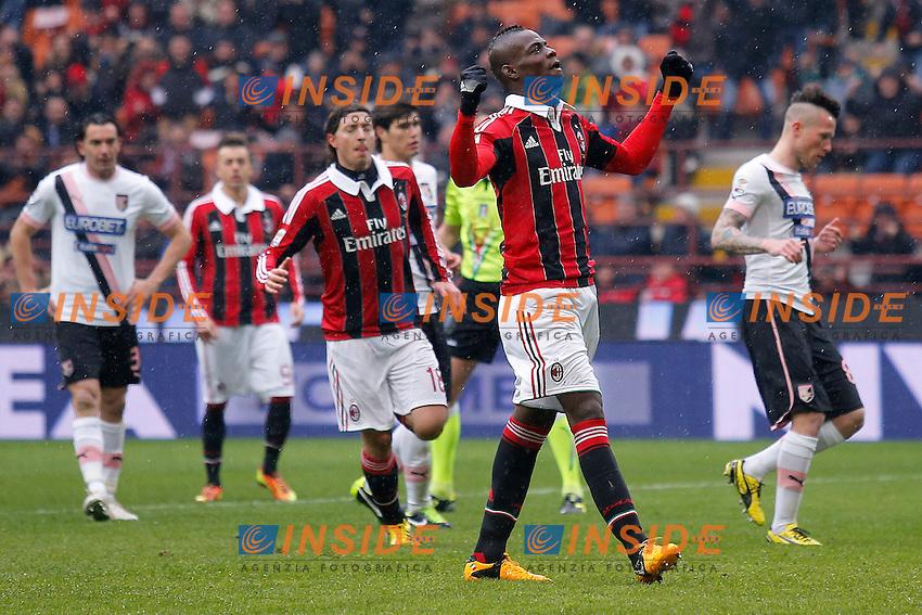 "Esultanza dopo il gol Mario Balotelli Milan, Goal Celebration, Milano 17/3/2013 .Stadio ""S.Siro"".Football Calcio 2012/2013 Serie A.Milan Vs Palermo.Foto Marco Bertorello Insidefoto"