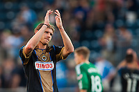 Aaron Wheeler (12) of the Philadelphia Union salutes the fans after the match. The Philadelphia Union and FC Dallas played to a 2-2 tie during a Major League Soccer (MLS) match at PPL Park in Chester, PA, on June 29, 2013.