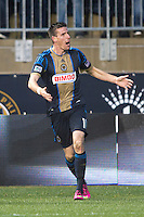 Sebastien Le Toux (11) of the Philadelphia Union celebrates a goal  during the game at PPL Park in Chester, PA.  The Philadelphia Union defeated the New England Revolution, 1-0.