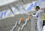Mercedes driver Lewis Hamilton celebrates during a race at the Circuit de Catalunya on May 11, 2014. <br /> PHOTOCALL3000/PD