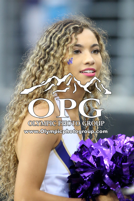 SEATTLE, WA - SEPTEMBER 9:  Washington cheerleader Katia Lucas entertained fans during the college football game between the Washington Huskies and the Montana Grizzlies on September 09, 2017 at Husky Stadium in Seattle, WA. Washington won 63-7 over Montana.
