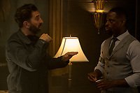 Hotel Artemis (2018)<br /> Director Drew Pearce and Sterling K. Brown on the set of  <br /> *Filmstill - Editorial Use Only*<br /> CAP/MFS<br /> Image supplied by Capital Pictures