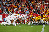 LOS ANGELES, CA - SEPTEMBER 8: Stanford Cardinal and USC Trojans line up for a USC Trojans field goal attempt during a game between USC and Stanford Football at Los Angeles Memorial Coliseum on September 7, 2019 in Los Angeles, California.