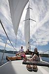 Tourists on a sailing cruise on Lake Tahoe